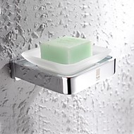 HPB®,Soap Dish Chrome Wall Mounted 11.5*12cm(4.5*4.7 inch) Brass / Glass Contemporary