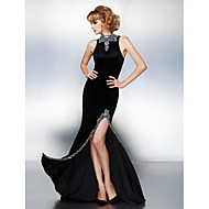 Prom / Formal Evening / Black Tie Gala Dress - Plus Size / Petite Sheath/Column High Neck Court Train Velvet