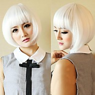 Women's Fashionable Short White Cosplay Party Wigs with Full Bang
