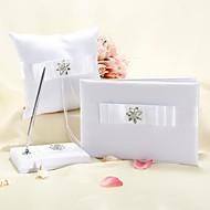 collezione da sposa bianco con strass floreali e fiocco (3 pezzi set)