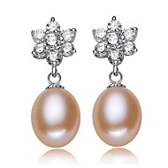 Drop Earrings Women's Silver/Pearl Earring Rhinestone