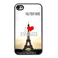 מקרה אישי אני אוהב מקרה מגדל אייפל מתכת עיצוב פריז במשך 4 / 4S iPhone