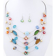 Wild Bohemian Fashion Exquisite Crystal Multilayer Necklace Earring Sets(More Colors)
