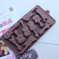10 Hole Guitar Shape Cake Ice Jelly Chocolate Molds,Silicone 15×14.5×1.5 CM(6.0×5.8×0.6 INCH)