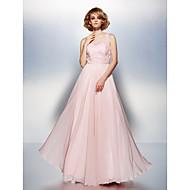 드레스 - 블러슁 핑크 A라인 바닥 길이 스쿱 쉬폰