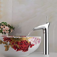 Contemporary Vessel Single Handle One Hole in Chrome Bathroom Sink Faucet
