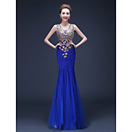 Formal Evening Dress - Royal Blue / Ruby Plus Sizes Trumpet/Mermaid Straps Floor-length Tulle / Lace