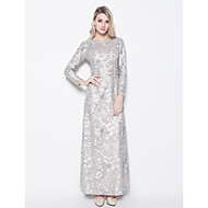 Sheath/Column Petite Mother of the Bride Dress - Silver Floor-length Long Sleeve Sequined