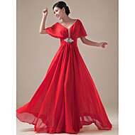 Formal Evening Dress - Daffodil / Ruby / Royal Blue / Regency Plus Sizes A-line V-neck Floor-length Chiffon