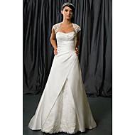 A-line Wedding Dress Chapel Train/Floor-length Queen Anne Satin Chiffon