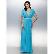 Formal Evening Dress - Plus Size / Petite Sheath/Column V-neck Floor-length Chiffon