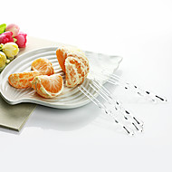 descartável bambu plástico transparente forma conjunta garfos de frutas, 1000pcs / set