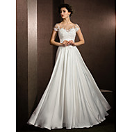 Lanting Bride A-line Petite / Plus Sizes Wedding Dress-Floor-length Jewel Satin Chiffon