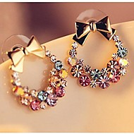 Fashion Full of Color Crystal Bowknot Earrings(1 Pair)
