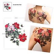 Pegatina grande mariposa y flor tatuaje patrón multicolor impermeable 1pc