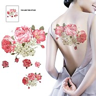 1 Pcs Waterproof  Multicolored Pink Flowers Beige Posted Back  Pattern  Tattoo Stickers