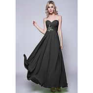 Floor-length Chiffon Bridesmaid Dress - Black / Lime Green / Fuchsia / Daffodil / Burgundy / Royal Blue / Silver / Pool / Ruby / Regency