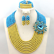 2015 African Beads Jewelry Set Turquoise Beads Bridesmaid Necklace Jewelry Set
