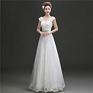 A-line Floor-length Wedding Dress -Scoop Lace
