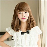 Angelaicos Womens Lolita Harajuku Style Brown Black Medium Curly Charming Party Nightclub Girls Cute Hair Full Bob Wigs