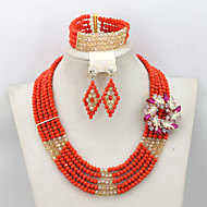 2015 New African Crystal Beads Jewelry Set Birthday/Festival Gift Jewelry Necklace Set