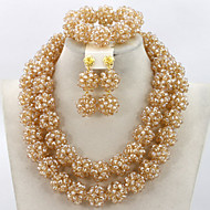 Handmade Chunky Gold African Wedding Jewelry Sets Nigerian Beaded Wedding Necklace Set