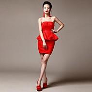 Cocktail Party Dress - Ruby Strapless Short/Mini Lace / Matte Satin