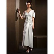 Lanting Bride Sheath/Column Petite / Plus Sizes Wedding Dress-Asymmetrical V-neck Satin Chiffon