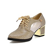 옥스퍼드 - 사무실 & 커리어 / 드레스 - 여성의 신발 - 힐 / 뾰족한 앞코 - 레더렛 - 청키 굽 - 블랙 / 실버 / 골드