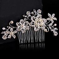 Vintage Wedding Bride Flower Austria Rhinestone Pearl Flower Silver Combs Hair Accessories