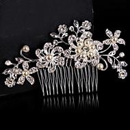 Vrouwen / Bloemenmeisje Sterling zilver / Licht Metaal Helm-Bruiloft / Speciale gelegenheden Haarkammen / Bloemen Zilver Rond