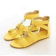 Sandály - Koženka - Otevřená špička - Dámská obuv - Žlutá / Červená / Bílá - Běžné - Plochá podrážka