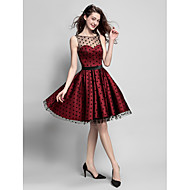 Homecoming Cocktail Party Dress - Burgundy A-line Jewel Knee-length Satin/Tulle
