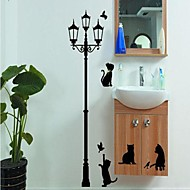 Environmental Removable Cats under The Streetlight PVC Wall Sticker