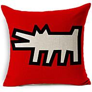 כיסוי כרית נוי בסגנון מודרני כלב מופשט דוגמת כותנה / פשתן