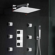 Robinet de douche - Contemporain - Thermostatique - Laiton (Chromé)