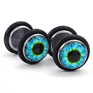 Mens Stainless Steel Evil Eye Stud Earrings, Blue Black