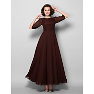 A-line Mother of the Bride Dress - Chocolate Ankle-length Half Sleeve Chiffon