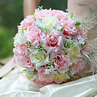 Romantic Wedding Bouquet Wedding Bride Holding Flowers,Silk Colth Simulation Pink Rose
