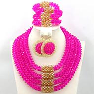 Hot Handmade African Wedding Bridal Jewelry Set Crystal Necklace Bracelet Earrings Set AC017