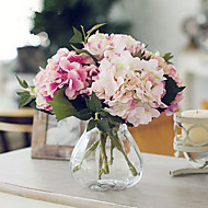 California Three Light Pink Two Dark Pink Hydrangeas Artificial Flowers With Vase