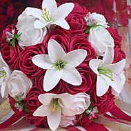 A Bouquet of 26 PE Simulation Roses and White Lily Wedding Bouquet Wedding Bride Holding Flowers,Rose Red