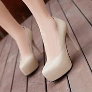 Women's Shoes Patent Leather Stiletto Heel Round Toe Pumps Black/Beige