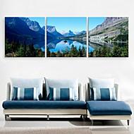 e-home® lona esticada arte do lago e da montanha decoração conjunto de pintura 3