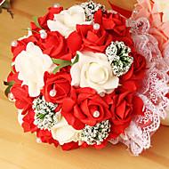 זר פרחי כלה חתונה ורדים סימולציה זר חתונה 23 PE מחזיק, 4 צבעים