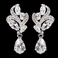 Elegant Silver Alloy With Cubic Zirconia  Wedding Earrings
