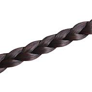 donker bruin handgemaakte clip in haarstukken visgraat vlecht synthetisch haar vlecht pony