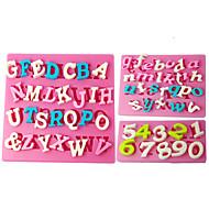 Four-C moldes número moldes do queque silicone fondant, ferramentas fondant de decoração fornece cor rosa 3pcs / set