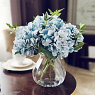 California Five Blue Hydrangeas Artificial Flowers With Vase