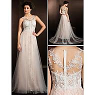 Lanting Bride A-line Petite / Plus Sizes Wedding Dress-Court Train Jewel Lace / Tulle